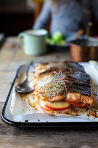 salmon stuffed with apple + fennel